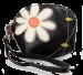 Dámské pouzdro s aplikací květin černé