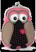 Pouzdro/peněženka s aplikací sovy růžová