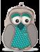 Pouzdro/peněženka s aplikací sovy tyrkysová