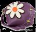 Dámské pouzdro s aplikací květin fialové
